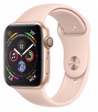 Apple Watch Series 4, 44 мм, корпус из золотистого алюминия, спортивный ремешок цвета «розовый песок» (MU6F2)