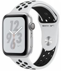 Apple Watch Nike+ Series 4, 44 мм, корпус из серебристого алюминия, спортивный ремешок Nike цвета «чистая платина/чёрный» (MU6K2)