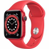 Apple Watch Series 6, 40 мм, корпус из алюминия цвета (PRODUCT)RED, спортивный ремешок красного цвета (M00A3)