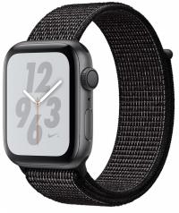 Apple Watch Nike+ Series 4, 44 мм, корпус из алюминия цвета «серый космос», спортивный браслет Nike чёрного цвета (MU7J2)