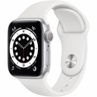 Apple Watch Series 6, 44 мм, корпус из алюминия серебристого цвета, спортивный ремешок белого цвета (M00D3)