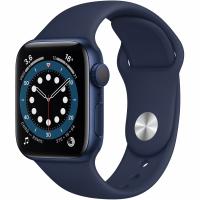 Apple Watch Series 6, 44 мм, корпус из алюминия синего цвета, спортивный ремешок «тёмный ультрамарин» (M00J3)