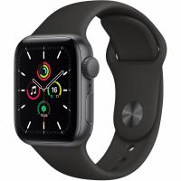 Apple Watch SE, 44 мм, корпус из алюминия цвета «серый космос», спортивный ремешок чёрного цвета (MYDT2)