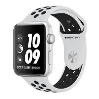 Apple Watch Series 3 Nike+, 42 мм, корпус из серебристого алюминия, спортивный ремешок Nike цвета «чистая платина/чёрный» (MQL32)