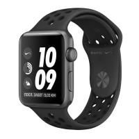Apple Watch Series 3 Nike+, 42 мм, корпус из алюминия цвета «серый космос», спортивный ремешок Nike цвета «антрацитовый/чёрный» (MTF42)