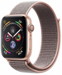 Apple Watch Series 4, 44 мм, корпус из золотистого алюминия, спортивный браслет цвета «розовый песок» (MU6G2)