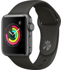 Apple Watch Series 3, 38 мм, корпус из алюминия цвета «серый космос», спортивный ремешок серого цвета (MR352)