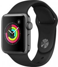 Apple Watch Series 3, 38 мм, корпус из алюминия цвета «серый космос», спортивный ремешок черного цвета (MTF02)