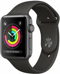 Apple Watch Series 3, 42 мм, корпус из алюминия цвета «серый космос», спортивный ремешок серого цвета (MR362)