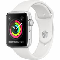 Apple Watch Series 3, 42 мм, корпус из серебристого алюминия, спортивный ремешок белого цвета (MTF22)