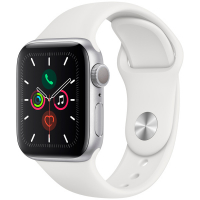 Apple Watch Series 5, 44 мм, корпус из алюминия серебристого цвета, спортивный ремешок белого цвета (MWVD2)