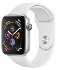 Apple Watch Series 4, 40 мм, корпус из серебристого алюминия, спортивный ремешок белого цвета (MU642)