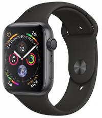 Apple Watch Series 4, 44 мм, корпус из алюминия цвета «серый космос», спортивный ремешок черного цвета (MU6D2)