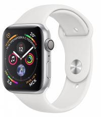Apple Watch Series 4, 44 мм, корпус из серебристого алюминия, спортивный ремешок белого цвета (MU6A2)