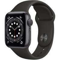 Apple Watch Series 6, 40 мм, корпус из алюминия цвета «серый космос», спортивный ремешок чёрного цвета (MG133)
