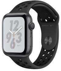 Apple Watch Nike+ Series 4, 44 мм, корпус из алюминия цвета «серый космос», спортивный ремешок Nike цвета «антрацитовый/чёрный» (MU6L2)