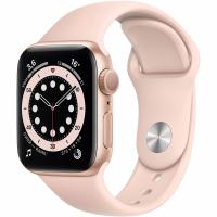 Apple Watch Series 6, 40 мм, корпус из алюминия золотого цвета, спортивный ремешок цвета «розовый песок» (MG123)