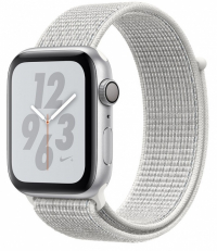 Apple Watch Nike+ Series 4, 44 мм, корпус из серебристого алюминия, спортивный браслет Nike цвета «снежная вершина» (MU7H2)