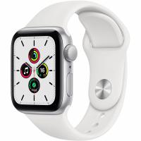 Apple Watch SE, 44 мм, корпус из алюминия серебристого цвета, спортивный ремешок белого цвета (MYDQ2)