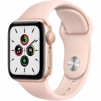 Apple Watch SE, 44 мм, корпус из алюминия золотого цвета, спортивный ремешок цвета «розовый песок» (MYDR2)