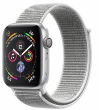 Apple Watch Series 4, 44 мм, корпус из серебристого алюминия, спортивный браслет цвета «белая ракушка» (MU6C2)