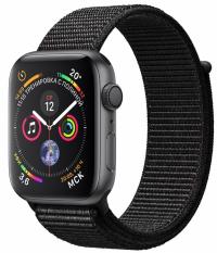 Apple Watch Series 4, 44 мм, корпус из алюминия цвета «серый космос», спортивный браслет черного цвета (MU6E2)