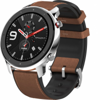 Huami Amazfit GTR 47mm Stainless Steel Case Leather Strap Серебристый
