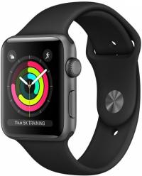 Apple Watch Series 3, 42 мм, корпус из алюминия цвета «серый космос», спортивный ремешок черного цвета (MTF32)