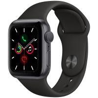 Apple Watch Series 5, 40 мм, корпус из алюминия цвета «серый космос», спортивный ремешок чёрного цвета (MWV82)