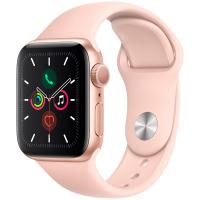 Apple Watch Series 5, 44 мм, корпус из алюминия золотого цвета, спортивный ремешок цвета «розовый песок» (MWVE2)