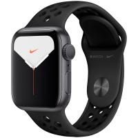Apple Watch Nike Series 5, 44 мм, корпус из алюминия цвета «серый космос», спортивный ремешок Nike «антрацитовый/чёрный» (MX3W2)